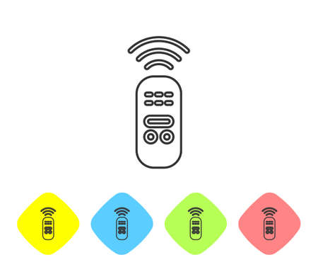 Grey line Smart remote control system icon isolated on white background. Internet of things concept with wireless connection. Set icons in color rhombus buttons. Vector Ilustração
