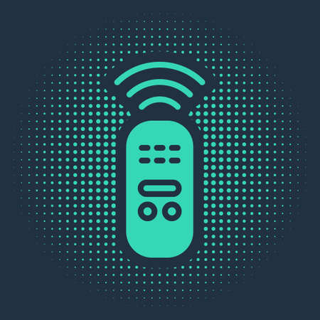 Green Smart remote control system icon isolated on blue background. Internet of things concept with wireless connection. Abstract circle random dots. Vector