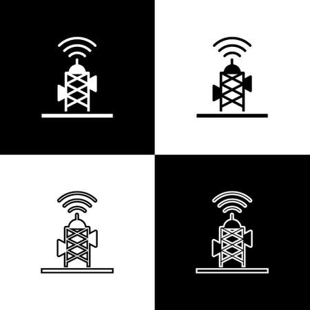 Set Wireless antenna icon isolated on black and white background. Technology and network signal radio antenna. Vector