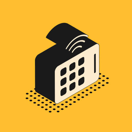 Isometric Wireless tablet icon isolated on yellow background. Internet of things concept with wireless connection. Vector