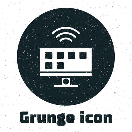 Grunge Smart Tv system icon isolated on white background. Television sign. Internet of things concept with wireless connection. Monochrome vintage drawing. Vector Ilustração