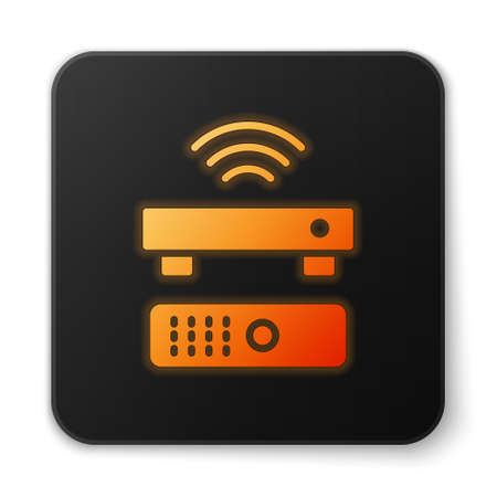 Orange glowing neon Wireless multimedia and TV box receiver and player with remote controller icon isolated on white background. Black square button. Vector 向量圖像