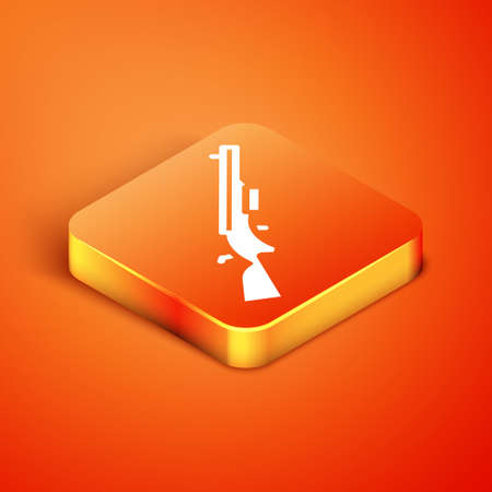 Isometric Shotgun icon isolated on orange background. Hunting gun. Vector Vektoros illusztráció