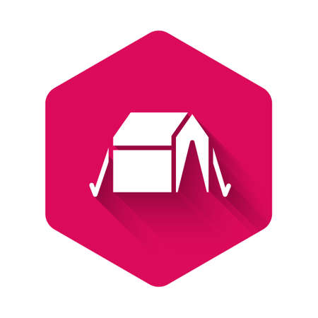 White Tourist tent icon isolated with long shadow. Camping symbol. Pink hexagon button. Vector 일러스트