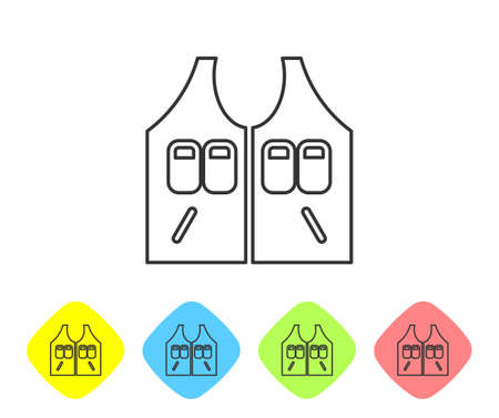Grey line Hunting jacket icon isolated on white background. Hunting vest. Set icons in color rhombus buttons. Vector 向量圖像