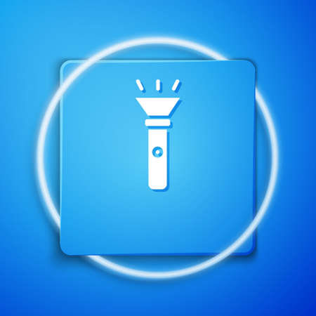 White Flashlight icon isolated on blue background. Blue square button. Vector 矢量图像