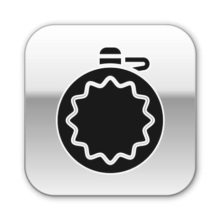 Black Canteen water bottle icon isolated on white background. Tourist flask icon. Jar of water use in the campaign. Silver square button. Vector
