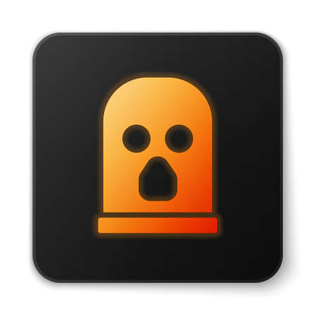 Orange glowing neon Balaclava icon isolated on white background. A piece of clothing for winter sports or a mask for a criminal or a thief. Black square button. Vector