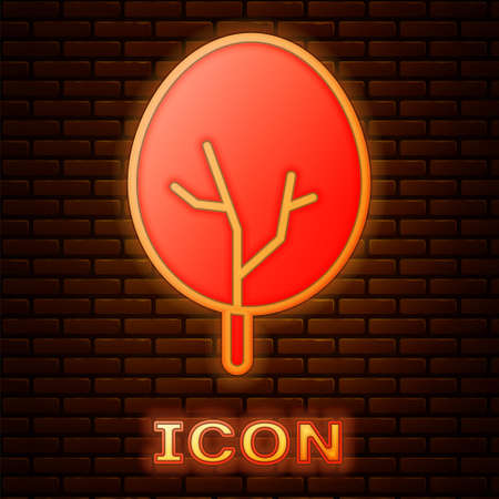 Glowing neon Tree icon isolated on brick wall background. Forest symbol. Vector 向量圖像