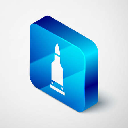 Isometric Bullet icon isolated on grey background. Blue square button. Vector