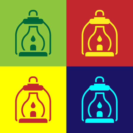 Pop art Camping lantern icon isolated on color background. Vector 일러스트