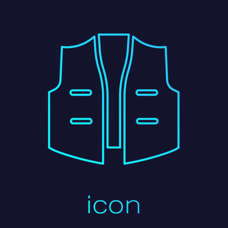 Turquoise line Fishing jacket icon isolated on blue background. Fishing vest. Vector