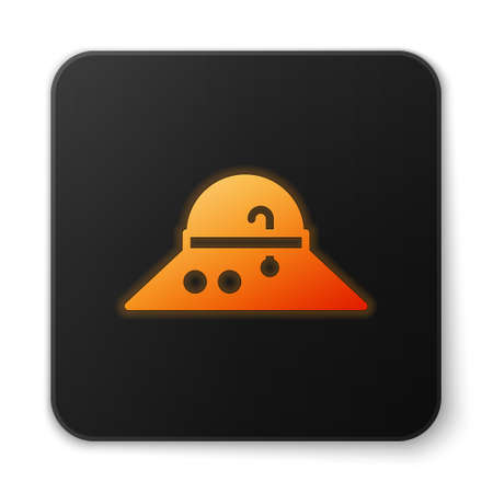 Orange glowing neon Fisherman hat icon isolated on white background. Black square button. Vector 向量圖像