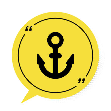Black Anchor icon isolated on white background. Yellow speech bubble symbol. Vector