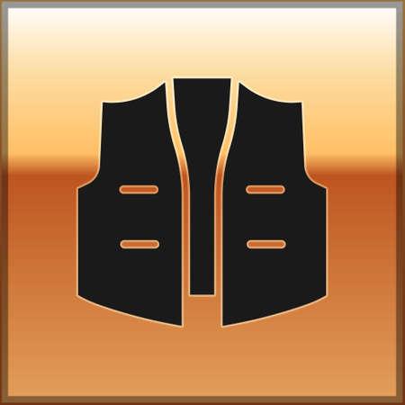 Black Fishing jacket icon isolated on gold background. Fishing vest. Vector