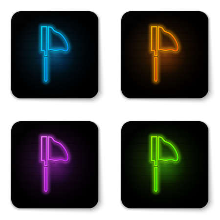 Glowing neon Fishing net with fish icon isolated on white background. Black square button. Vector