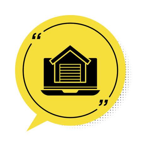 Black Online real estate house on laptop icon isolated on white background. Home loan concept, rent, buy, buying a property. Yellow speech bubble symbol. Vector