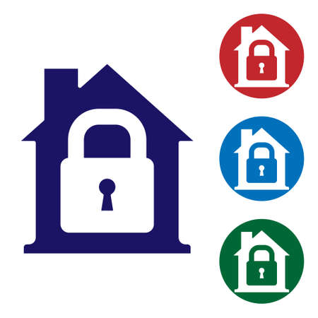 Blue House under protection icon isolated on white background. Home and lock. Protection, safety, security, protect, defense concept. Set icons in color square buttons. Vector Illustration