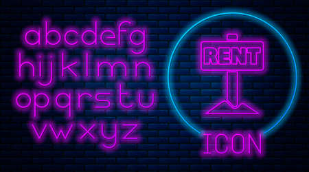 Glowing neon Hanging sign with text Rent icon isolated on brick wall background. Signboard with text For Rent. Neon light alphabet. Vector