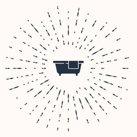 Grey Bathtub icon isolated on beige background. Abstract circle random dots. Vector