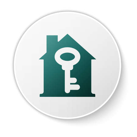 Green House with key icon isolated on white background. The concept of the house turnkey. White circle button. Vector