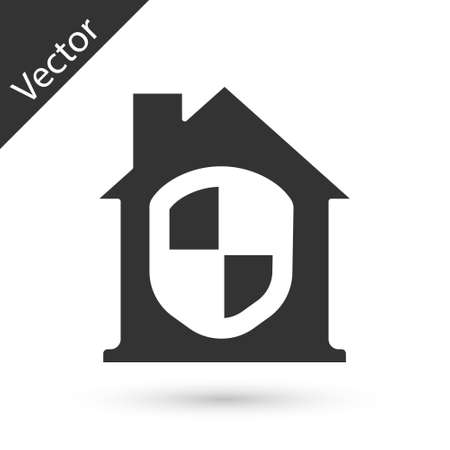 Grey House under protection icon isolated on white background. Home and shield. Protection, safety, security, protect, defense concept. Vector