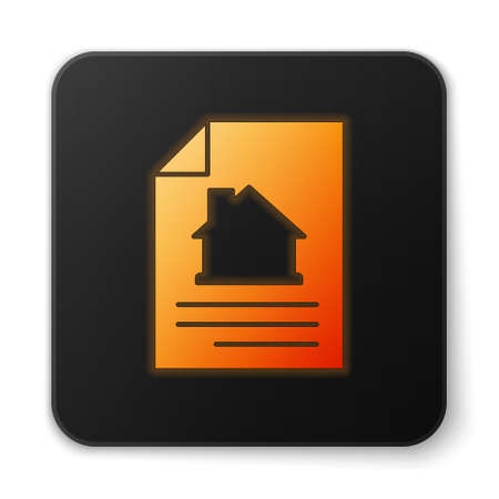 Orange glowing neon House contract icon isolated on white background. Contract creation service, document formation, application form composition. Black square button. Vector 向量圖像