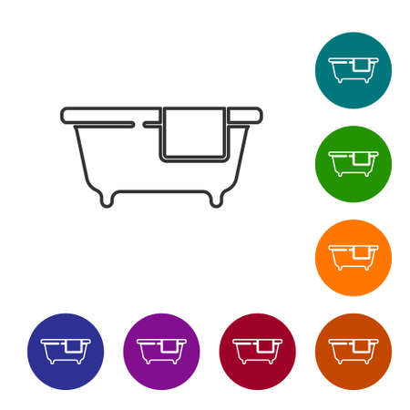 Black line Bathtub icon isolated on white background. Set icons in color circle buttons. Vector 向量圖像