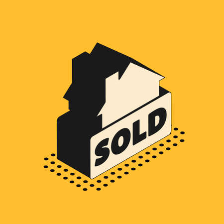 Isometric Hanging sign with text Sold icon isolated on yellow background. Sold sticker. Sold signboard. Vector