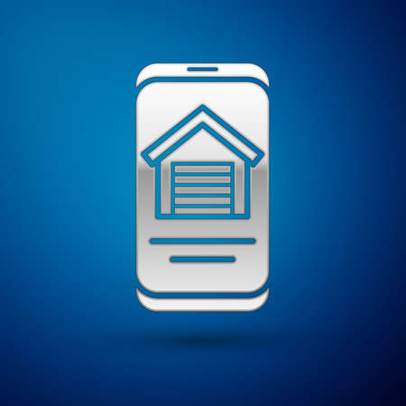 Silver Online real estate house on smartphone icon isolated on blue background. Home loan concept, rent, buy, buying a property. Vector Ilustração