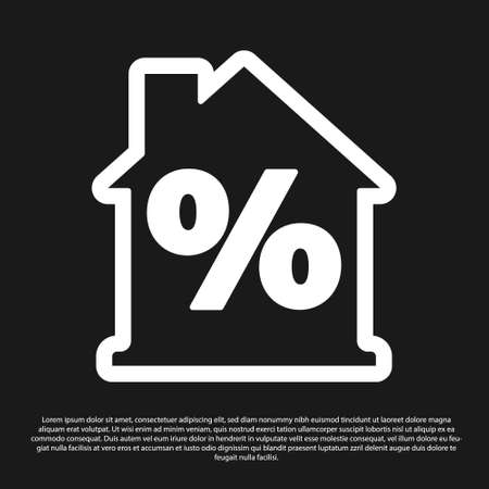 Black House with percant discount tag icon isolated on black background. Real estate home. Credit percentage symbol. Vector