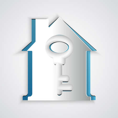 Paper cut House with key icon isolated on grey background. The concept of the house turnkey. Paper art style. Vector