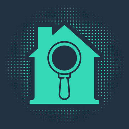 Green Search house icon isolated on blue background. Real estate symbol of a house under magnifying glass. Abstract circle random dots. Vector