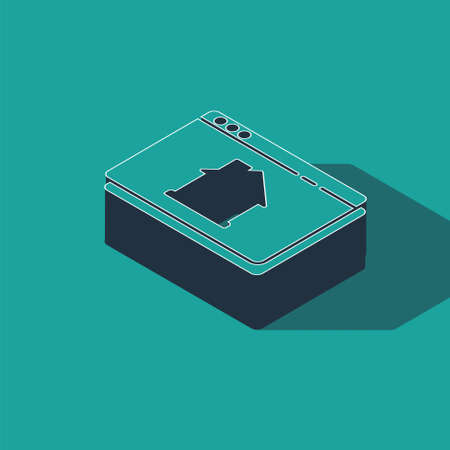 Isometric Online real estate house in browser icon isolated on green background. Home loan concept, rent, buy, buying a property. Vector