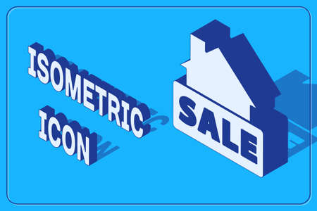 Isometric Hanging sign with text Sale icon isolated on blue background. Signboard with text Sale. Vector