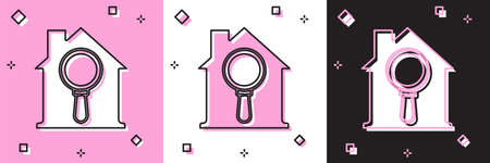 Set Search house icon isolated on pink and white, black background. Real estate symbol of a house under magnifying glass. Vector