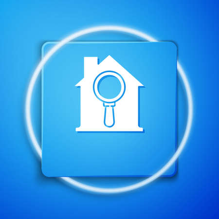White Search house icon isolated on blue background. Real estate symbol of a house under magnifying glass. Blue square button. Vector Illustration