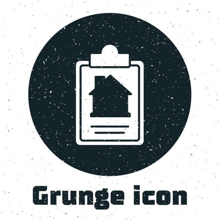 Grunge House contract icon isolated on white background. Contract creation service, document formation, application form composition. Monochrome vintage drawing. Vector