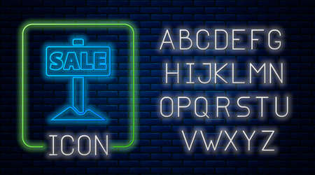 Glowing neon Hanging sign with text Sale icon isolated on brick wall background. Signboard with text Sale. Neon light alphabet. Vector Ilustração