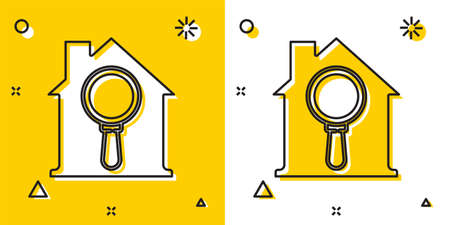 Black Search house icon isolated on yellow and white background. Real estate symbol of a house under magnifying glass. Random dynamic shapes. Vector