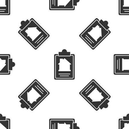 Grey House contract icon isolated seamless pattern on white background. Contract creation service, document formation, application form composition. Vector Ilustração