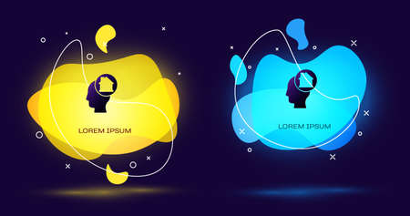Black Man dreaming about buying a new house icon isolated on black background. Abstract banner with liquid shapes. Vector Ilustração