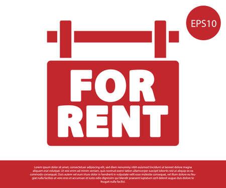 Red Hanging sign with text For Rent icon isolated on white background. Signboard with text For Rent. Vector