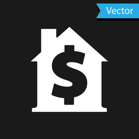 White House with dollar symbol icon isolated on black background. Home and money. Real estate concept. Vector