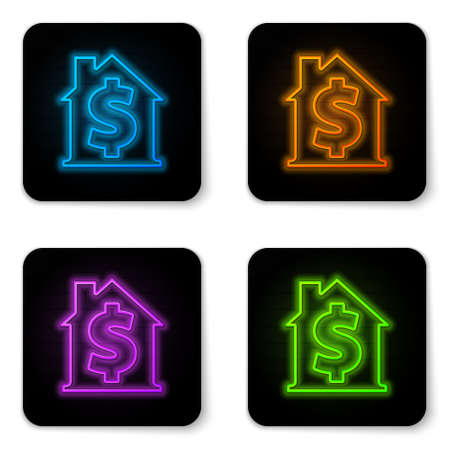 Glowing neon House with dollar symbol icon isolated on white background. Home and money. Real estate concept. Black square button. Vector