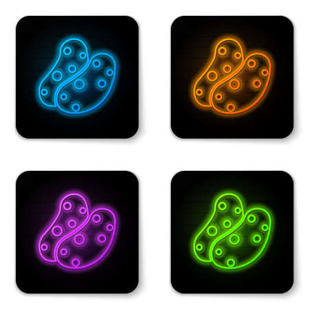 Glowing neon Potato icon isolated on white background. Black square button. Vector 向量圖像