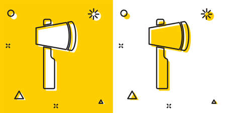Black Wooden axe icon isolated on yellow and white background. Lumberjack axe. Random dynamic shapes. Vector Vectores