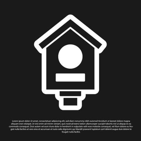 Black Bird house icon isolated on black background. Nesting box birdhouse, homemade building for birds. Vector