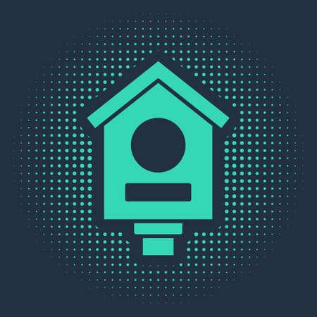 Green Bird house icon isolated on blue background. Nesting box birdhouse, homemade building for birds. Abstract circle random dots. Vector