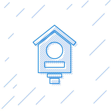 Blue line Bird house icon isolated on white background. Nesting box birdhouse, homemade building for birds. Vector